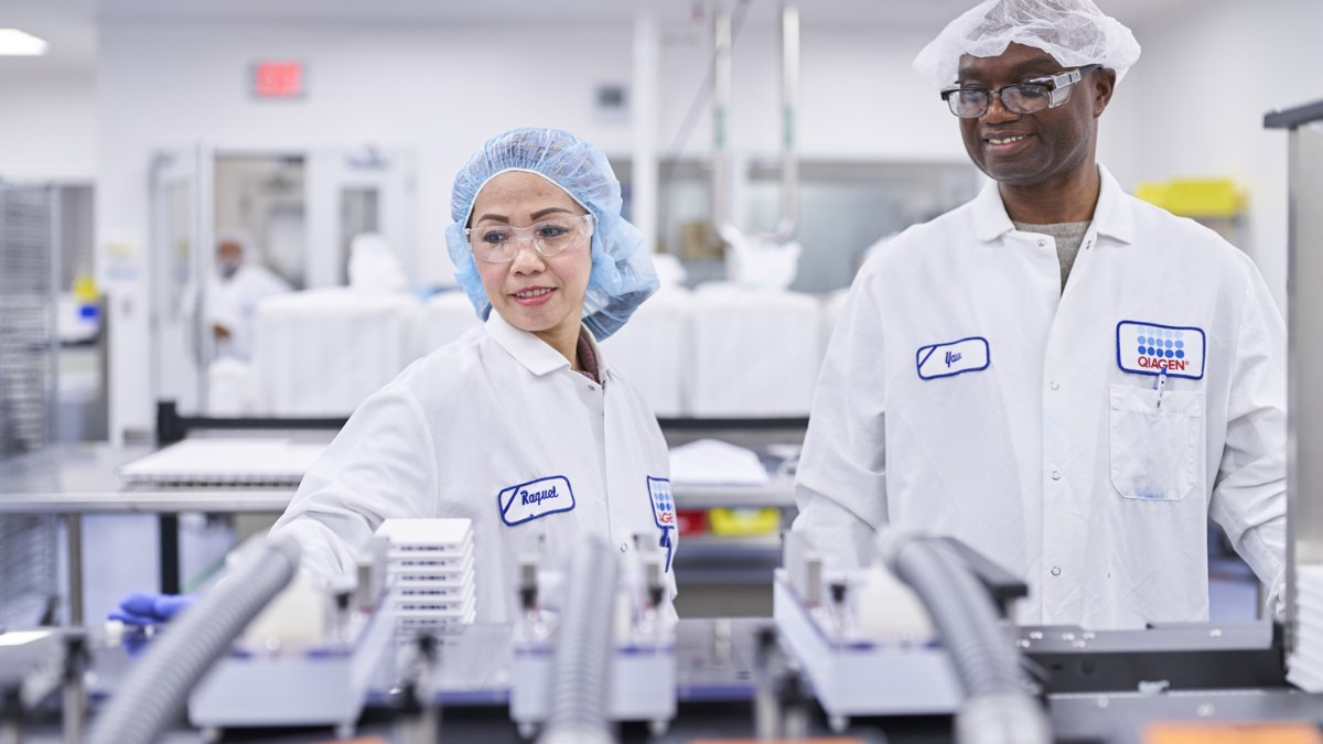 Employees working in production in QIAGEN's site in Germantown