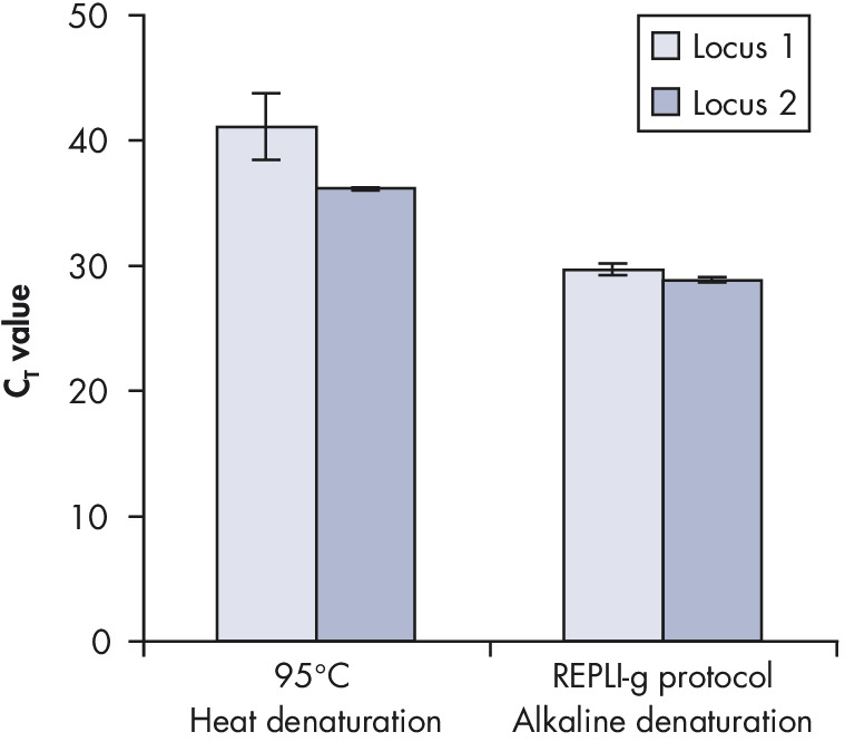 <p>Effect of heat and alkaline denaturation on loci representation.</p>
