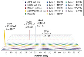 Sensitivity of qBiomarker Somatic Mutation PCR Arrays with FFPE samples.