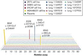 Sensitivity of qBiomarker Somatic Mutation PCR Arrays with FFPE samples.