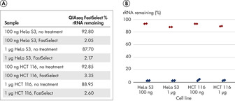 QIAseq FastSelect provides robust performance with RNA from cell lines (% rRNA remaining).