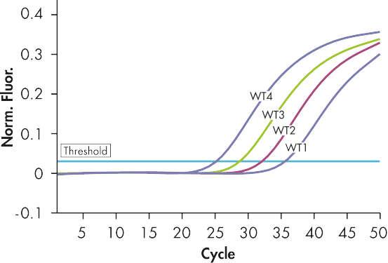 Reliable detection of JAK2 wild-type plasmid standards.