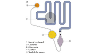 Microfluidic features of the QIAxpert Slide.
