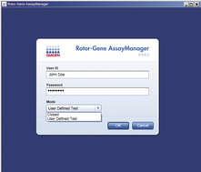 Easy login and assay selection.