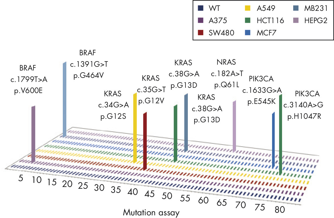 Profiling of common cancer cell lines for somatic mutation status.
