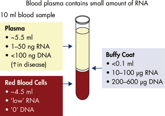 Blood serum and plasma contain small amounts of RNA.