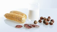 Corn, milk, salami, nuts