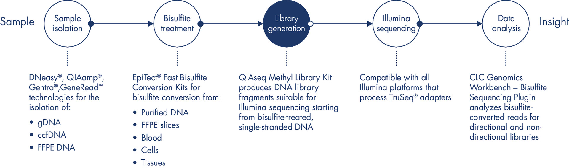 Sample to Insight workflow for the analysis of methylation events.